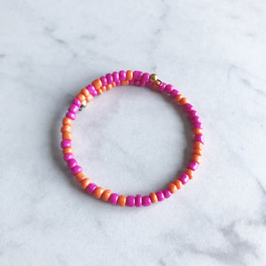 Hot Pink and Orange Seed Bead Stacker Bracelet