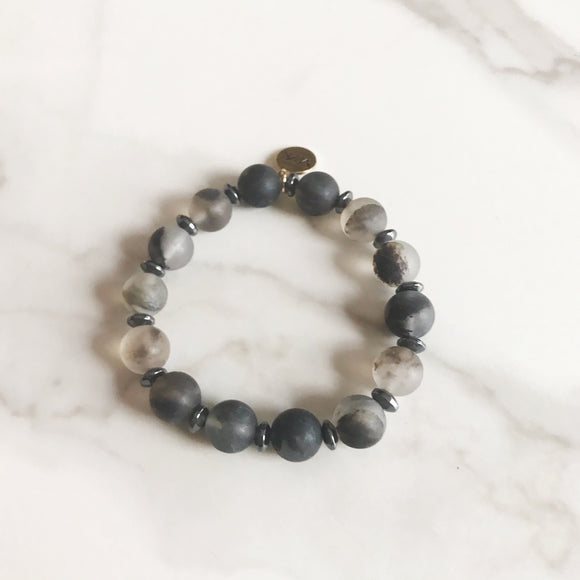 Matte Rutilated Quartz Stretch Bracelet
