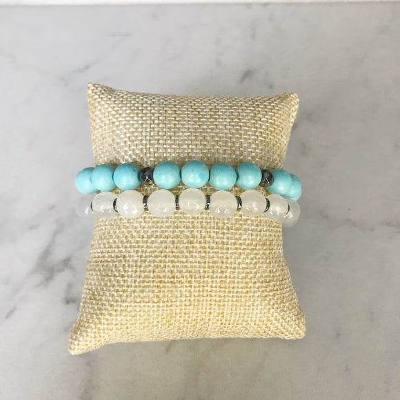 Turquoise and Snow Quartz Bracelet Duo