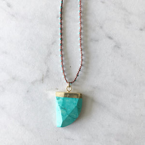 Turquoise Pendant on Turquoise Bead Crocheted Necklace