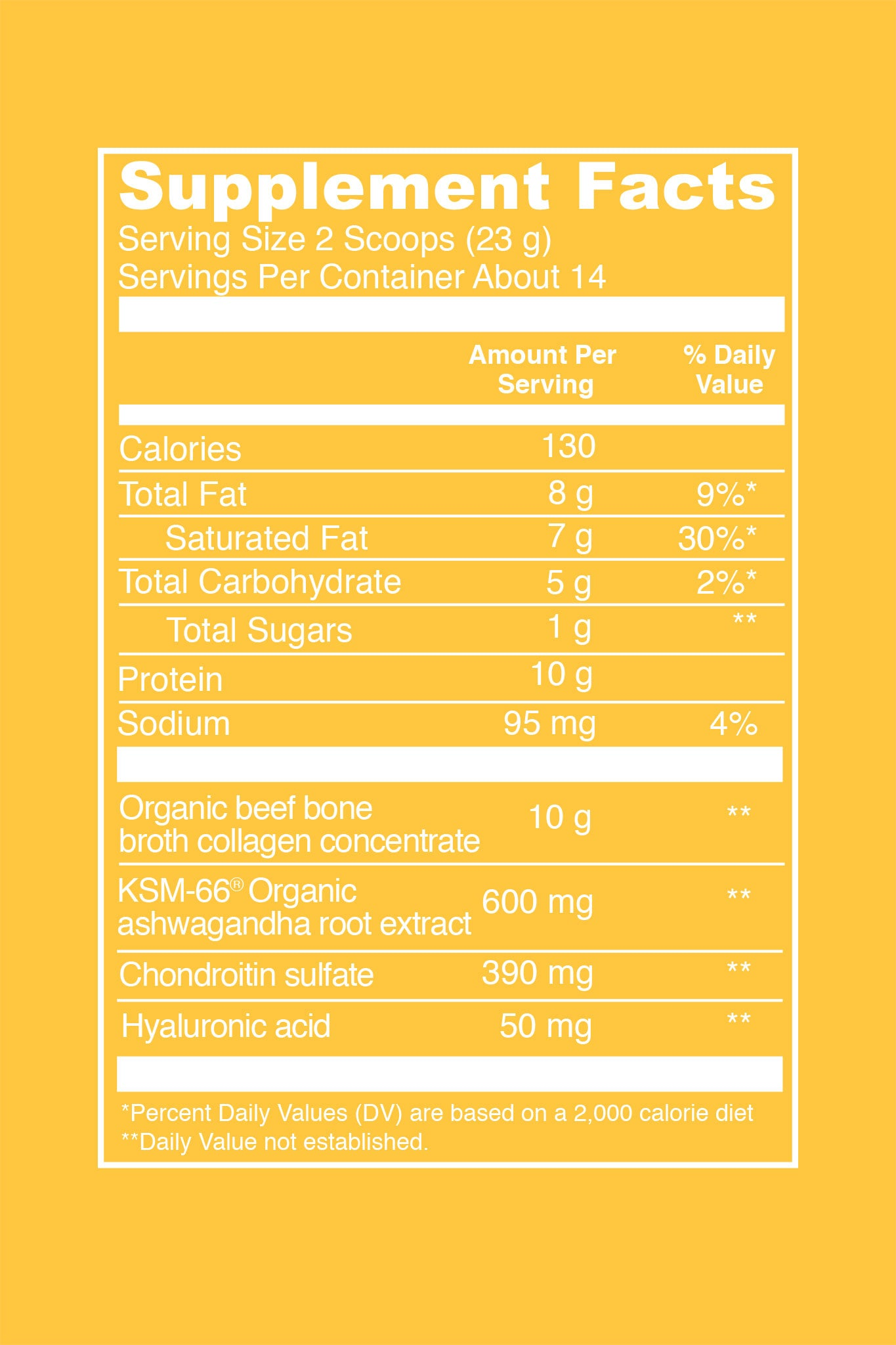 Madagascar Vanilla Collagen Latte (12.5 oz. Canister). Serving Size: 2 Scoops (23 g). Servings Per Container: About 14. Amount Per Serving: 130 calories - per serving. 8 g Total Fat (9% DV). 7 g Saturated Fat (30% DV). 5 g Total Carbohydrate (2% DV). 1 g Total Sugars. 10 g Protein. 95 mg Sodium (4% DV). 10 g organic beef bone broth collagen concentrate. 600 mg KSM-66 Organic ashwagandha root extract. 390 mg Chondroitin sulfate. 50 mg Hyaluronic acid.
