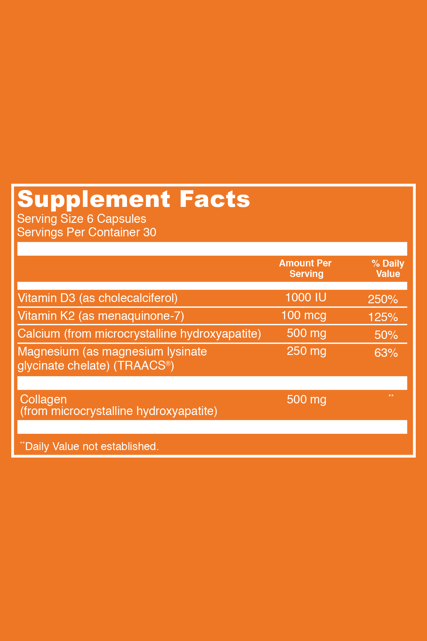 Bone Collagen Supplement Facts. Serving Size: 6 Capsules. Servings Per Container: 30. Vitamin D3 (as cholecalciferol) - 1000 IU per serving (250% DV). Vitamin K2 (as menaquinone-7) - 100 mcg (125% DV). Calcium (from microcrystalline hydroxyapatite) - 500 mg per serving (50% DV). Magnesium (as magnesium lysinate glycinate chelate (TRAACS) - 250 mg per serving (63%). Collagen - 500 mg per serving.