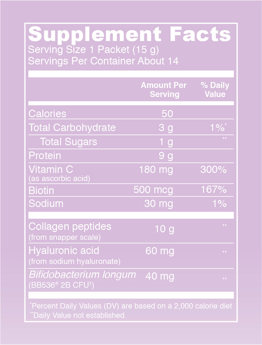 Beauty Glow Lavender Lemon (Stick Packs) Supplement Facts. Serving Size: 1 Packet (15 g). Servings Per Container: 14. Calories - 50 per serving. Total Carbohydrate - 3g per serving (1%* Daily Value). Total Sugars - 1 g per serving. Protein - 9 g per serving. Vitamin C - 180 mg per serving (300% DV). Biotin - 500 mcg per serving (167% DV). Sodium - 30 mg per serving (1% Daily Value). Collagen peptides (from bovine hide) - 10 g per serving. Hyaluronic acid (from sodium hyaluronate) - 60 mg per serving. Bacillus coagulans (LactoSpore 2B CFU) - 40 mg.