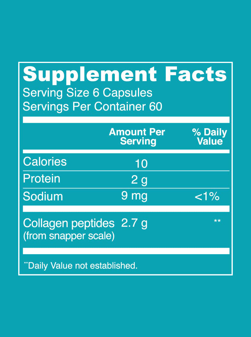 Marine Collagen (Capsules) Supplement Facts. Serving Size: 6 Capsules. Servings Per Container: 60. Per Serving Values - Calories: 10. Protein: 2g. Sodium: 9 mg (<1% DV). Collagen Peptides (from snapper scale): 2.7 g.
