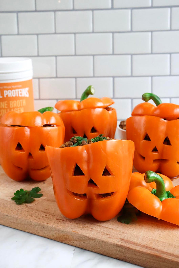 Turn Stuffed Bell Peppers into Mini Jack-o'-Lanterns