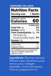 Blueberry Mint Collagen Water Nutrition Facts. Contains 13% Juice. Serving Size: 1 Bottle. Per Serving Values - Calories: 60. Total Fat: 0g (0% DV). Sodium: 30mg (1% DV). Total Carbohydrate: 4g (1% DV). Total Sugars: 3g. Incl 0g Added Sugars (0% DV). Protein: 10g. Calcium: 8mg (0% DV). Potassium: 43 mg (0% DV).