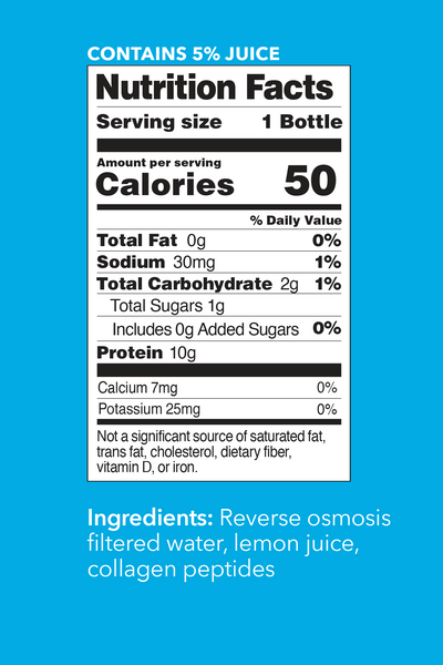 Original Collagen Water Nutrition Facts. Contains 5% Juice. Serving Size: 1 Bottle. Per Serving Values - Calories: 50. Total Fat: 0g (0% DV). Sodium: 30mg (1% DV). Total Carbohydrate: 2g (1% DV). Total Sugars: 1g. Incl 0g Added Sugars (0% DV). Protein: 10g. Calcium: 7mg (0% DV). Potassium: 25 mg (0% DV).
