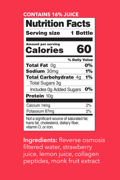 Strawberry Lemon Collagen Water Nutrition Facts. Contains 16% Juice. Serving Size: 1 Bottle. Per Serving Values - Calories: 60. Total Fat: 0g (0% DV). Sodium: 30mg (1% DV). Total Carbohydrate: 4g (1% DV). Total Sugars: 3g. Incl 0g Added Sugars (0% DV). Protein: 10g. Calcium: 14mg (2% DV). Potassium: 87 mg (2% DV).