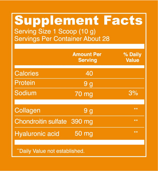 Bone Broth Collagen - Beef (10oz) Supplement Facts. Serving Size: 1 Scoop (10 g). Servings Per Container - About 28. Calories - 40 Per Serving. Protein: 9 g per serving. Sodium - 70 mg per serving (3% Daily Value). Collagen - 9g per serving. Chondroitin sulfate - 390 mg per serving. Hyaluronic acid - 50 mg per serving.