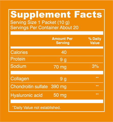 Bone Broth Collagen - Beef (Stick Packs) Supplement Facts. Serving Size: 1 Packet (10 g). Servings Per Container - About 20. Calories - 40 Per Serving. Protein: 9 g per serving. Sodium - 70 mg per serving (3% Daily Value). Collagen - 9g per serving. Chondroitin sulfate - 390 mg per serving. Hyaluronic acid - 50 mg per serving.