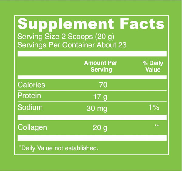 Beef Gelatin (16oz) Supplement Facts. Serving Size: 2 Scoops (20 g). Servings Per Container: About 23. Calories - 70 per serving. Protein - 17 g per serving. Sodium - 30 mg per serving (1% Daily Value). Collagen - 20 g per serving.