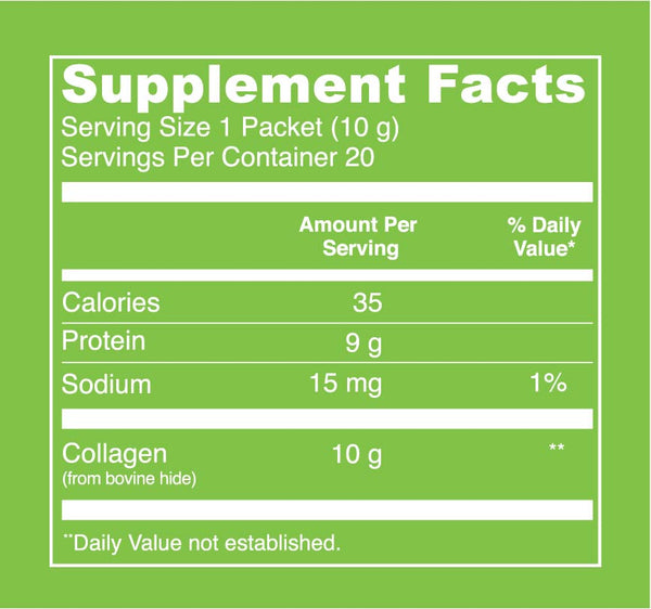 Beef Gelatin (Stick Packs) Supplement Facts. Serving Size: 1 Packet (10 g). Servings Per Container: 20. Calories - 35 per serving. Protein - 9 g per serving. Sodium - 15 mg per serving (1% Daily Value). Collagen - 10 g per serving.