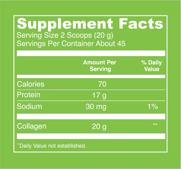 Beef Gelatin (32oz) Supplement Facts. Serving Size: 2 Scoops (20 g). Servings Per Container: About 45. Calories - 70 per serving. Protein - 17 g per serving. Sodium - 30 mg per serving (1% Daily Value). Collagen - 20 g per serving.