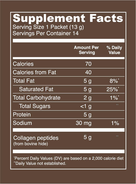 Mocha Collagen Creamer (Stick Packs). Serving Size: 1 Packet (13 g). Servings Per Container: About 14. Amount Per Serving: 70 calories - per serving. 40 Calories from Fat. 5 g Total Fat (8% DV). 5 g Saturated Fat (25% DV). 2 g Total Carbohydrate (1% DV). <1 g Total Sugars. 5 g Protein. 30 mg Sodium (1% DV). 5 g Collagen peptides (from bovine hide).