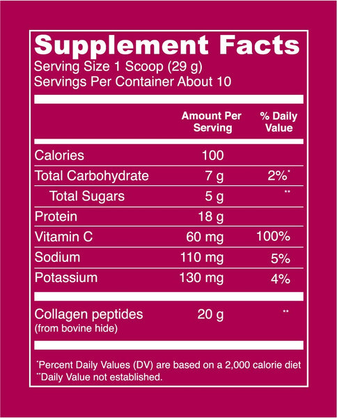 Collagen Peptides Mixed Berry Supplement Facts. Serving Size: 1 Scoop (29g). Servings per container: about 10. Per serving values - Calories: 100. Total carbohydrate: 7g (2% DV). Total Sugars: 5g. Protein: 18g. Vitamin C: 60mg (100% DV). Sodium: 110 mg (5% DV). Potassium: 130 mg (4% DV). Collagen Peptides (bovine hide): 20g.