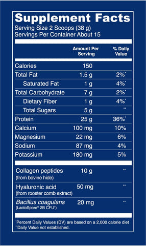 Collagen Whey Protein - Banana Cinnamon & Vanilla Supplement Facts - Vital Proteins
