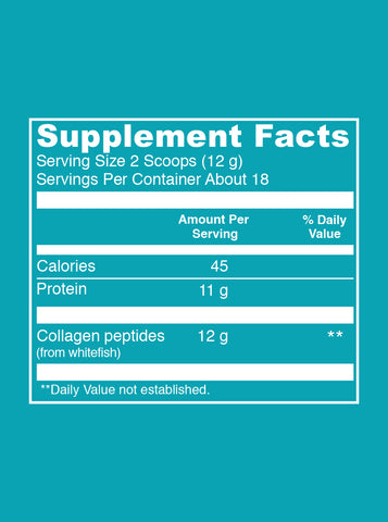 Marine Collagen (7 oz) Supplement Facts. Serving Size: 2 Scoops (12g). Servings Per Container: About 18. Per Serving Values - Calories: 45. Protein: 11g. Collagen Peptides (from whitefish): 12 g.