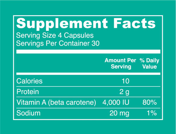 Spirulina Capsules Supplement Facts. Serving Size: 4 Capsules. Servings Per Container: 30. Calories: 30 per serving. Protein: 2 g per serving. Vitamin A (beta carotene): 4000 IU per serving (80% DV). Sodium: 20 mg per serving (1% DV).