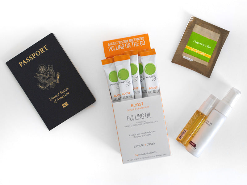Ultimate Natural Health Travel Kit. Oil Pulling is an Ayurvedic practice that promotes strong oral health, whitens teethe, clears sinuses - a natural mouthwash alternative. Masigi contains organic coconut oil and essential oils, no chemicals.