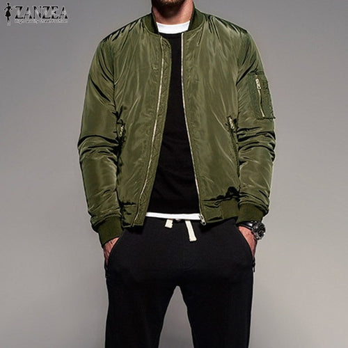 New Retro Mens Long Sleeve Zip-up Bomber Jacket Baseball Army Coat Outwear
