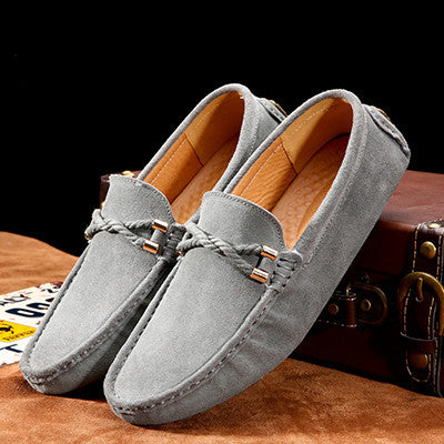 Men Summer Suede Loafers Genuine Leather Breathable Mesh