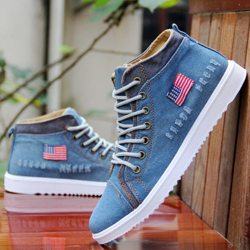 Men Fashion Breathable High-top & Mid-top Cowboy Canvas Denim Sewing Flat Shoes