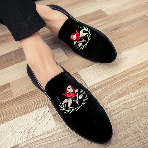 Italy Fashion Design Men Loafers Rose Flower Embroidery
