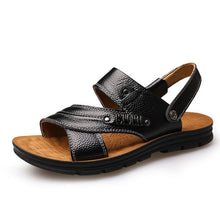 Mens Summer Sandals Genuine Leather Shoes Casual Beach Slippers