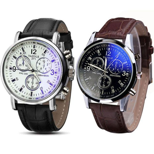 2PC Luxury Fashion Faux Leather Mens Blue Ray Glass Quartz Analog Watches