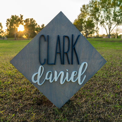 3D Wood Diamond Name Sign Nursery Baby Infant Wall Art