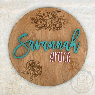 "18"""" Engraved Round Custom Name Wood Sign"