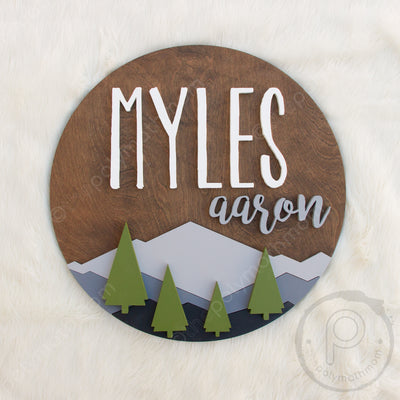 3D Wood Mountain Landscape Round Name Sign Nursery Baby Infant Wall Art