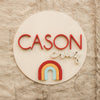 "24"""" Rainbow Round Custom Name Wood Sign"