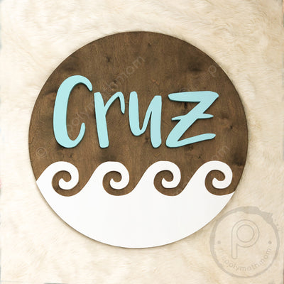 "24"""" Waves Round Custom Wood Name Sign"