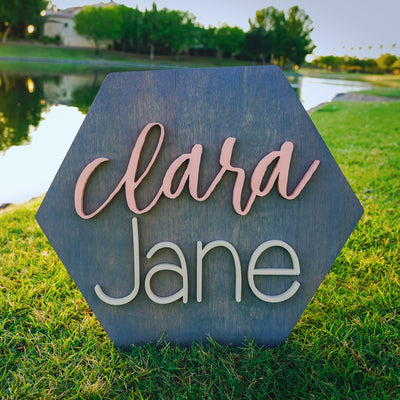 3D Wood Honeycomb Name Sign Nursery Baby Infant Wall Art