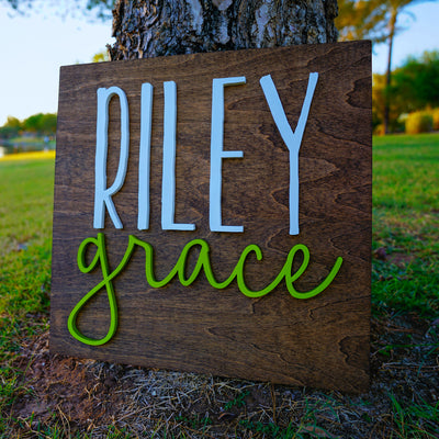 3D Wood Square Name Sign Nursery Baby Infant Wall Art