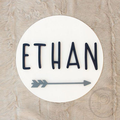 "24"" Arrow Round Custom 3D Name Wood Sign 