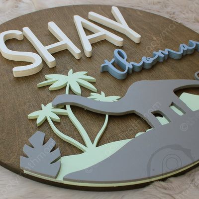 "18"""" Dinosaur Round Custom Wood Name Sign"