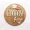 "18"""" Rose Round Custom Name Wood Sign"
