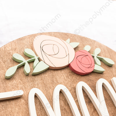 "24"" Round Floral Rose Arch Custom 3D Name Wood Sign"