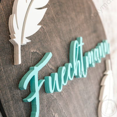 "24"""" Round with Feathers Custom Name Wood Sign"