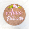 "24"""" Round Floral Arch Custom Name Wood Sign"