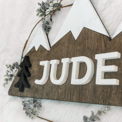 "24"""" Three Peaks Mountain Custom Name Wood Sign"