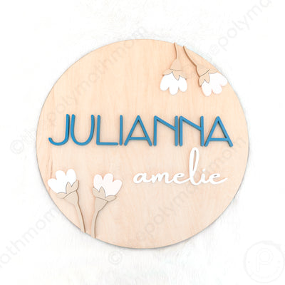 "24"""" Round Floral Design Custom Name Wood Sign"