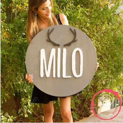 "24"" Antler Icon Round Custom 3D  Name Wood Sign 