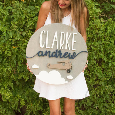 "24"""" Airplane Round Custom Wood Name Sign"