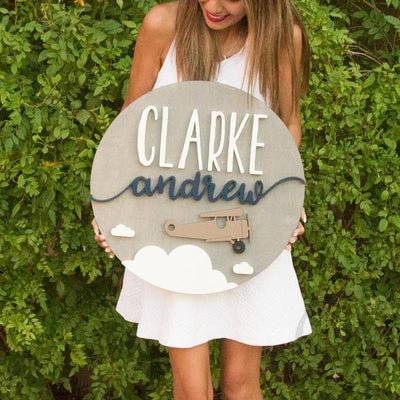 "18"""" Airplane Round Custom Wood Name Sign"