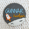 "24"""" Space Landscape Round Custom Name Wood Sign"