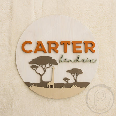 "24"""" Safari Round Custom Wood Name Sign"
