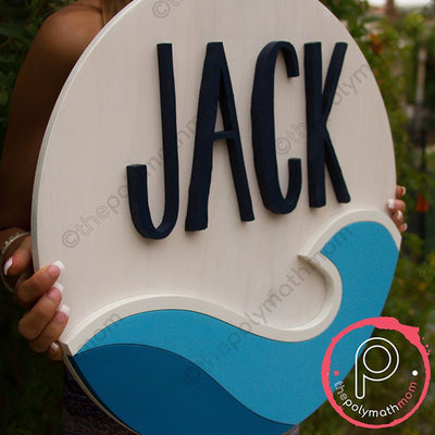 "18"""" Waves Round Custom Wood Name Sign"